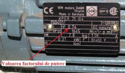 Indicarea valorii factorului de putere pe eticheta unui motor electric